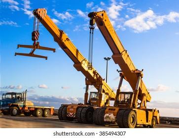 auto cranes on construction site