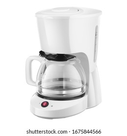 Auto Drip Coffee Maker Isolated on White. White Plastic & Glass Automatic Espresso Machine or Coffeemaker. Modern Drip Coffee Pot. Electric Kitchen Small Appliance. Domestic & Household Appliances