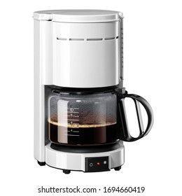 Auto Drip Coffee Maker Isolated. White Plastic & Glass Automatic Espresso Machine or Coffeemaker Side View. Modern Drip Coffee Pot. Electric Kitchen Small Appliance. Domestic & Household Appliances