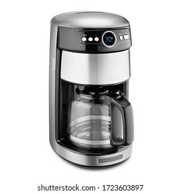 Auto Drip Coffee Maker Isolated on White. Stainless Steel & Glass Automatic Espresso Machine or Coffeemaker. Modern Drip Coffee Pot. Electric Kitchen Small Appliance. Domestic & Household