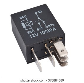 Auto electronic collection isolated on white background. Car electromagnetic relay switch