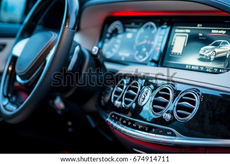 Auto Luxury Car Steering Wheel Dashboard Stock Photo Edit Now