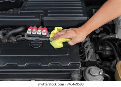 Auto mechanic providing car service, closeup