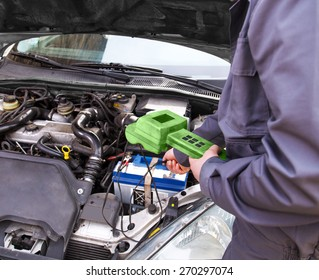 Auto mechanic testing the electrical system on automobile