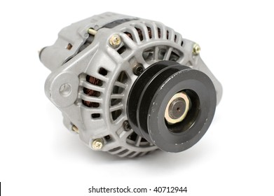 auto part, electric generator for diesel engine against white background with clipping path