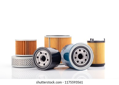 Auto parts accessories :  Oil , fuel or air filter for engine car  isolated on white background.