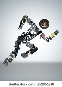 auto parts spare are laid out in the form of a running man for shop aftermarket. Isolated on white background.