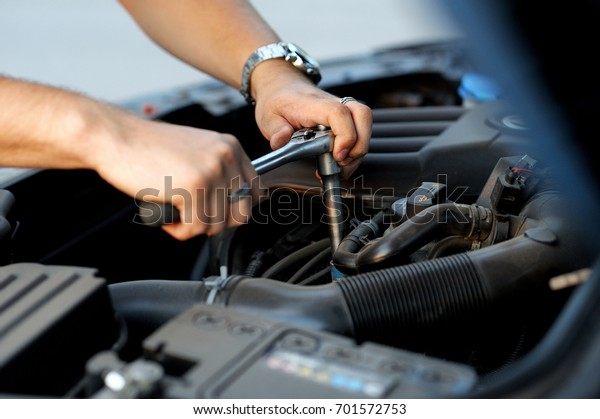 Auto Repair Open Hood Car Stock Photo Edit Now 701572753