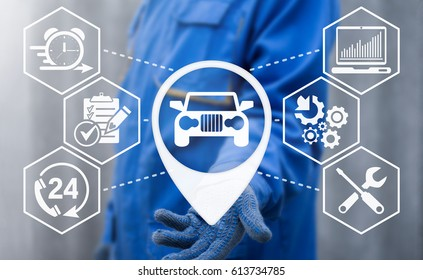 Auto repair service. Center tuning car. Repairer offers location automobile icon on virtual screen. Technical repairs. Vehicle technics maintenance. Fix malfunctions transport.