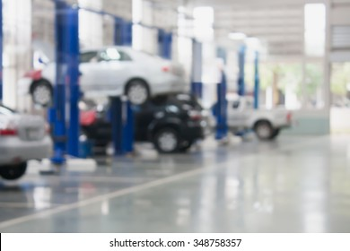 auto repair service station blurred background