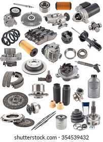 lot of auto spare parts on white.