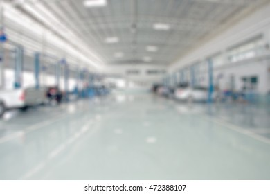 Auto ware house. garage blurred background.