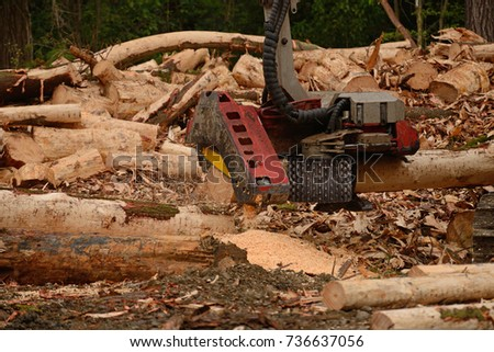 Autocutter Attachment On Digger Measures Trims Stock Photo (Edit Now