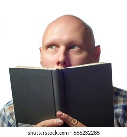 Autoimmune total alopecia men portrait. Absolute bald head with no eyebrows read the book and shocked