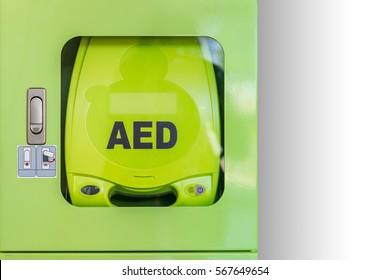 An automated external defibrillator (AED).