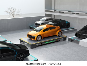 An automated guided vehicle (AGV) carrying a yellow car to parking space. Concept for automatic car parking system. 3D rendering image.