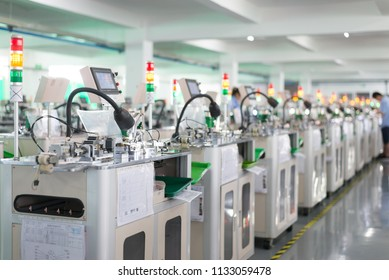 An automated production facility for a technology-based manufacturing company is operating at high speed on July 13, 2018, in Sichuan, China.