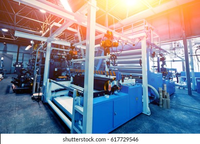 Automated production line in factory. Plastic bag manufacturing process