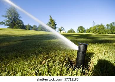 Automated underground sprinkler in public park