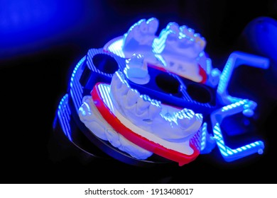 Automatic 3D dental scanner for dental gypsum model scanning and measuring with rotating platform - close up view. Stomatology, medicine, restoration, laboratory equipment, techonology concept