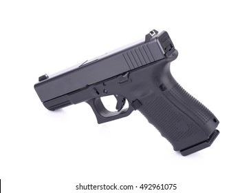 Automatic 9 m.m handgun pistol isolated on white