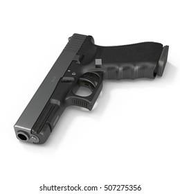 Automatic 9mm handgun pistol isolated on white. 3D illustration