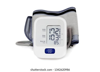 automatic blood pressure meter isolated on white background