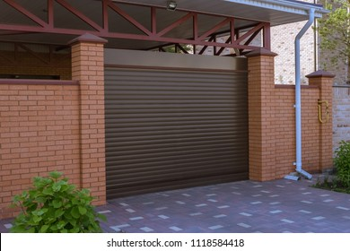 Automatic brown roller shutters in the garage, private house