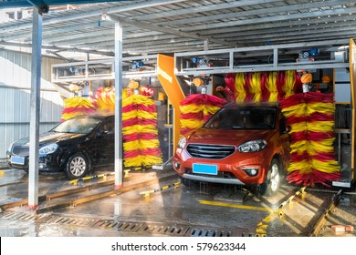 automatic car wash in action, car wash clean , brushes