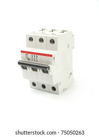 Automatic circuit breaker, isolated on a white background.
