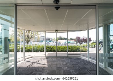 Automatic door inside airport.