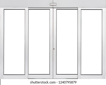 Automatic double sliding glass door isolated on white, Modern entrance of airport terminal, empty window pane office element for design