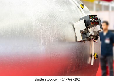 Automatic drive carriage for attach tool such water jet plasma gas cutting instrument for metal cylinder or large steel pipe work cutting or perforate hole drilling  etc in manufacture & copy space