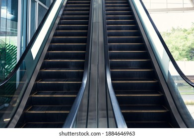 Automatic electric escalators with railing moving up and down
