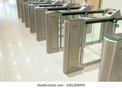 automatic entrance ticket gate of subway ,Entrance Gate Ticket Access Touch technology Subway Station with no people.