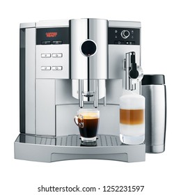 Automatic Espresso Coffee Machine Isolated on White Background. Front View of Stainless Steel Coffee Maker with Two Cup of Coffee. Domestic and Household Appliances. Electric Kitchen Coffee-Maker