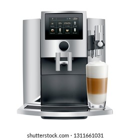 Automatic Espresso Coffee Machine Isolated on White. Front View of Stainless Steel Electric Kitchen Coffee-Maker or Coffee Maker with a Cup of Cappuccino. Domestic and Electric Household Appliances