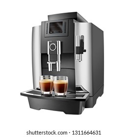 Automatic Espresso Coffee Machine Isolated on White. Side View of Stainless Steel Electric Kitchen Coffee-Maker or Coffee Maker with a Cup of Cappuccino. Domestic and Electric Household Appliances