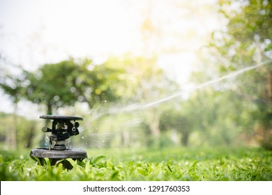 Automatic Garden Lawn sprinkler in action watering grass with copy space for text using as background garden shop concept..