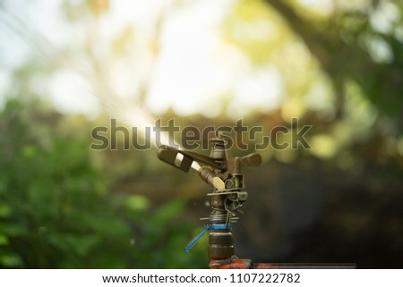 Automatic Garden Lawn Sprinkler Action Watering Stock Photo