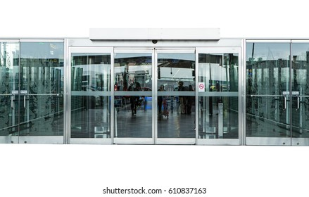 automatic glass door isolated on white background