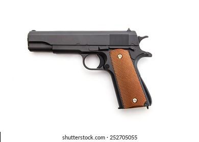 Automatic gun battle on a white background