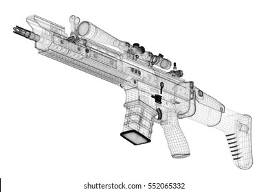 Automatic gun on background, body structure, wire model. 3d rendering. 3D rendering