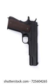 Automatic gun on white background