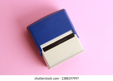 Automatic ink stamp manufactured in blue plastic