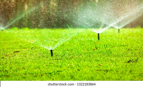 Automatic lawn sprinkler watering green grass. Sprinkler with automatic system. Garden irrigation system watering lawn. Water saving or water conservation from sprinkler system with adjustable head.