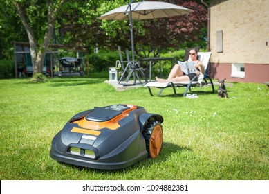 Automatic lawnmower in modern garden