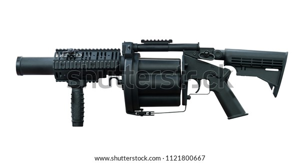 Automatic machine gun isolated with clipping patch