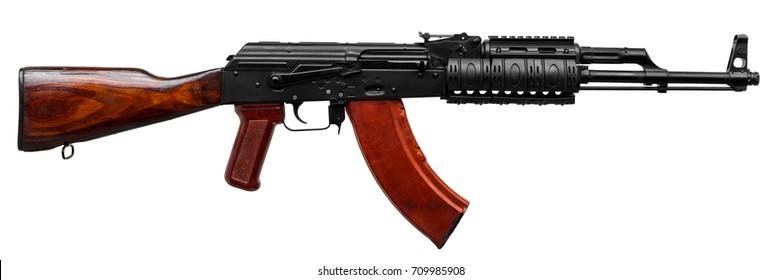 Automatic machine gun isolated on white background