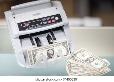 automatic money counting in the machine. USD dollars